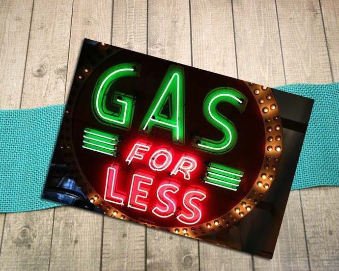 Gas For Less Neon Sign Fine Art Postcard, Vintage, Retro, Light, Bright,