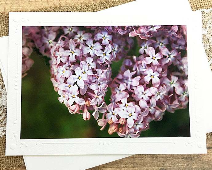 Glitter accent Lilacs Fine Art Photography Card, Flowers, Floral, Embossed
