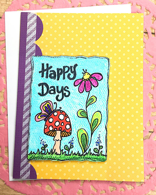 Happy Days Hand-Colored Greeting, Note Card, Butterfly, Mushroom, Flower,