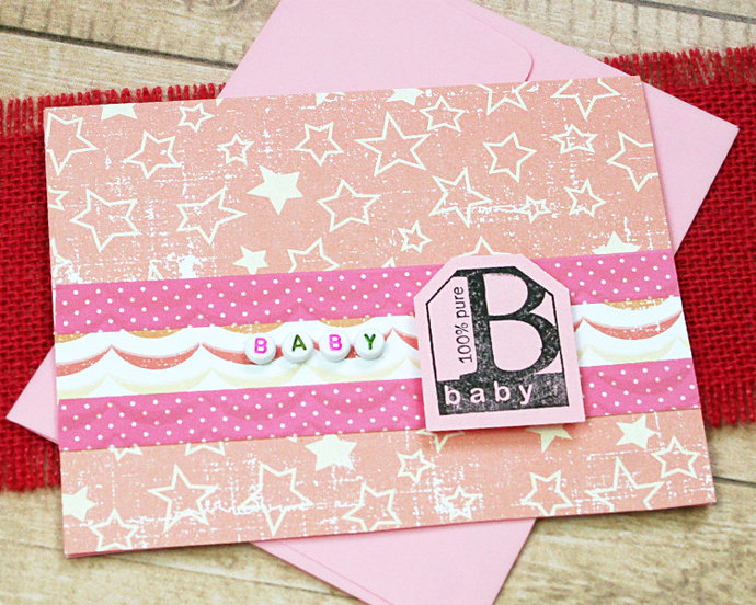 Baby Girl Little One Congratulations Announcement Best Wishes 100/% Pure Baby Greeting Card Pregnancy- 5.5 x 4 New Arrival Precious