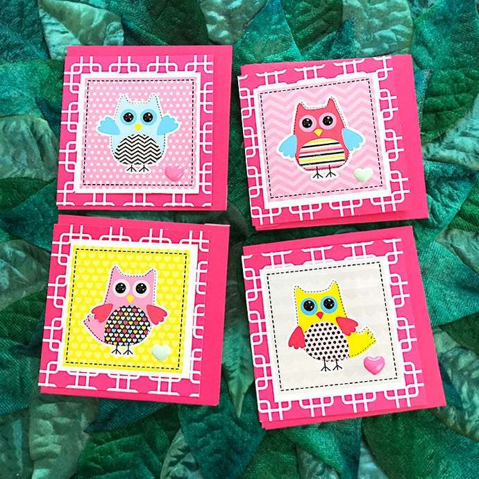 Set of 4 Adorable Owls & Hearts Mini Cards, Gift Tag, Trendy, Birthday,