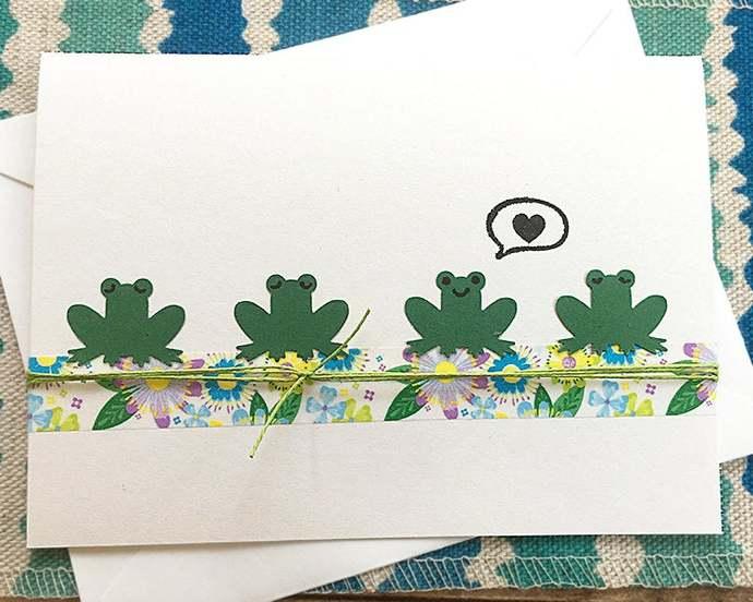 Heart Froggy Greeting, Note Card, Anniversary, Romance, Love, Girlfriend,