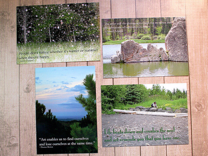Set of Four Art And Nature Inspirational Quotes Postcards - 5.875 inches by