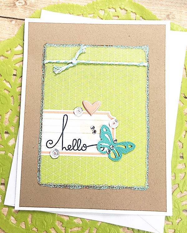 Hello Butterfly and Sparkle Note Card, Greeting, Get Well, Thinking of You,