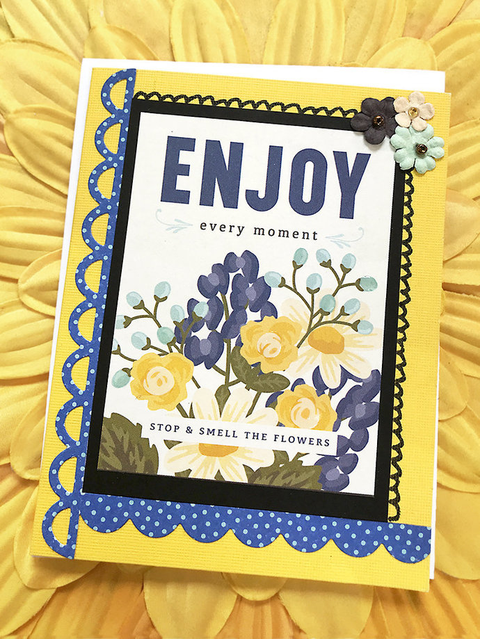 Enjoy Every Moment Greeting, Note Card, Stop and Smell the Flowers, Floral,