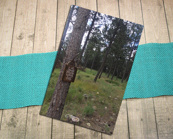 Smile More, Worry Less Fine Art Photography Postcard, Summer, Forest, Woods,