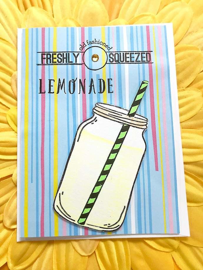Freshly Squeezed Lemonade Greeting, Note Card, Beverage, Drink, Refreshing,