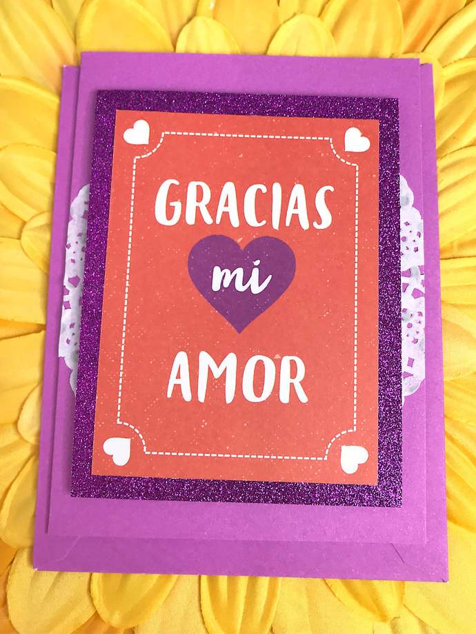 Gracias mi Amor, Thank You my Love Greeting, Note Card, Spanish, Mexico,