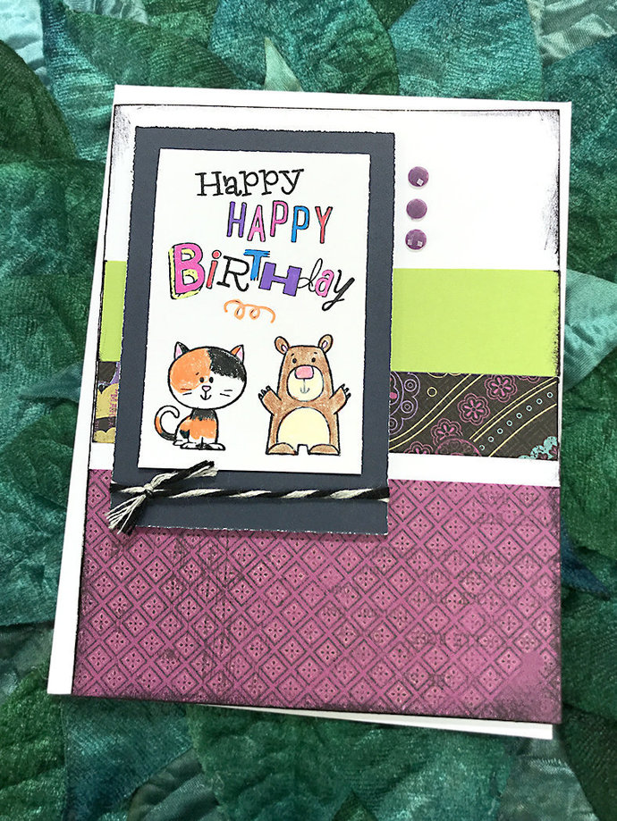 Happy Birthday Calico Cat and Bear Greeting, Note Card, Festive , Celebrate,