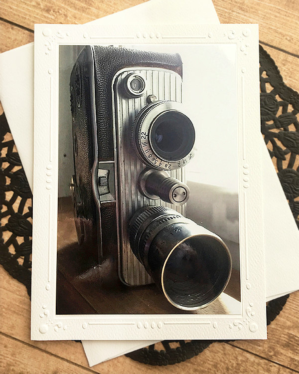 Vintage Camera Fine Art Photography Card, Embossed Border, Note Card, Hobby,