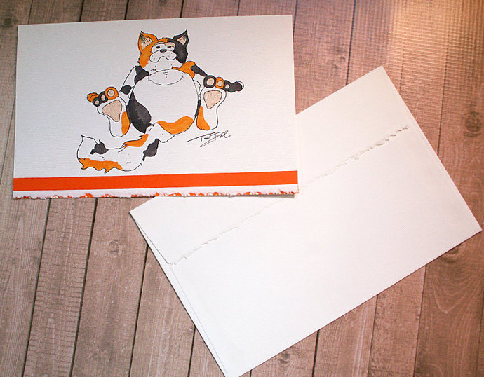 Relaxed Calico Cat Deckle-Edged Note Card, National Cat Day October 29, Cartoon,