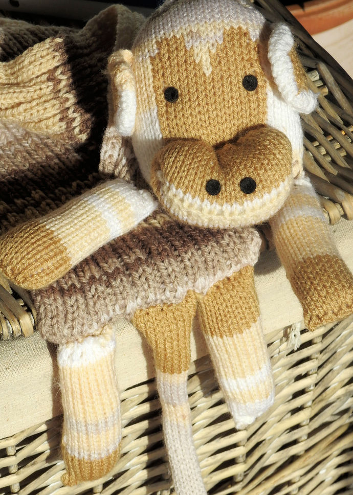 Hand Knitted Child's Brown Monkey Scarf - FREE SHIPPING