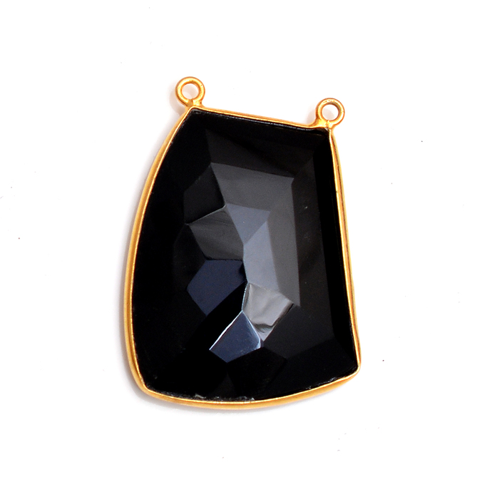 Gold Plated Sterling Silver Bezel Black Onyx Connector Fancy faceted Gemstone