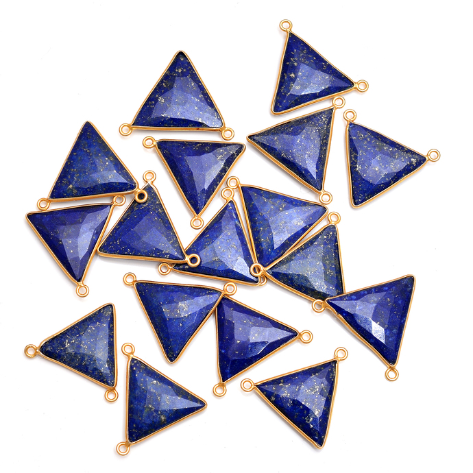 Lapis Lazuli Bezel Gold Plated Connector triangle checkerboard cut faceted