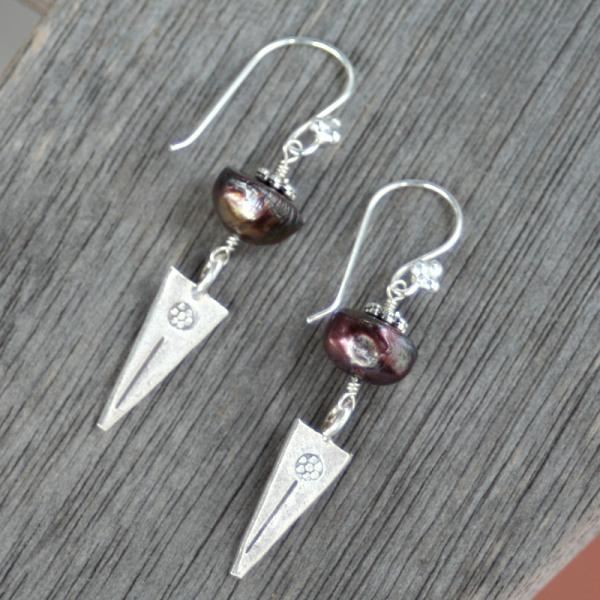 Pearl and Thai Silver Earrings