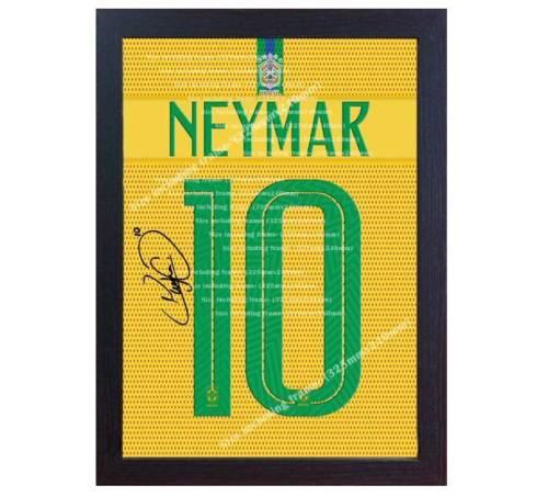2018/19 Neymar t-shirt Brazil signed autograph Printed CANVAS 100% COTTON Framed