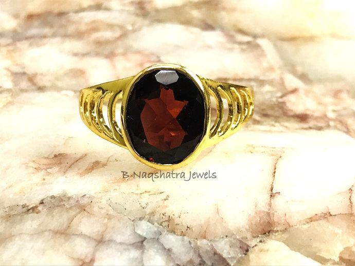 NATURAL GARNET MEN Ring-10k yellow gold ,January birthstone rings, Red garnet