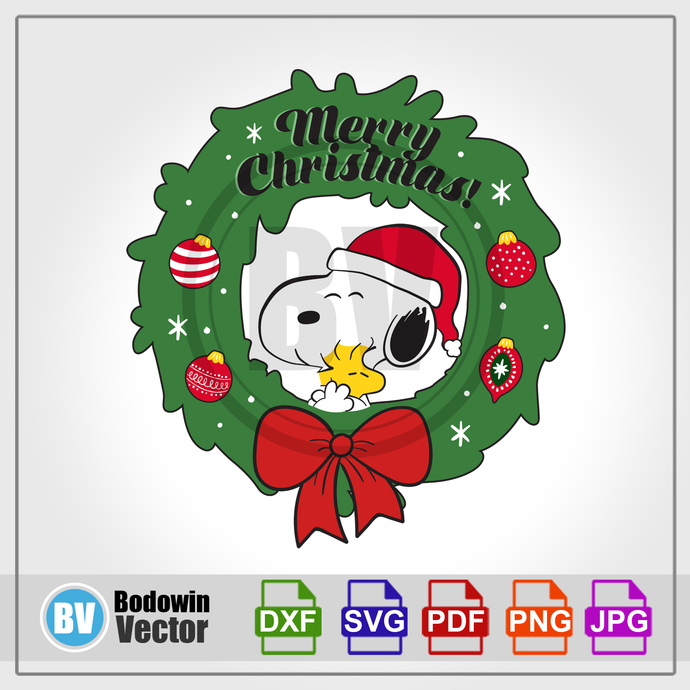 Peanuts Xmas Wreath SVG - Snoopy / Instant Download / Digital Clipart / Cutting