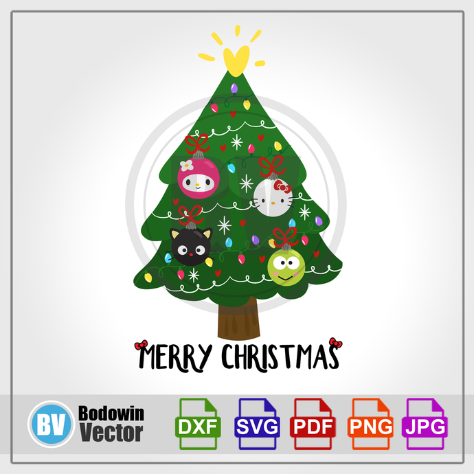 Hello Kitty Christmas Tree SVG  / Instant Download / Digital Clipart / Cutting