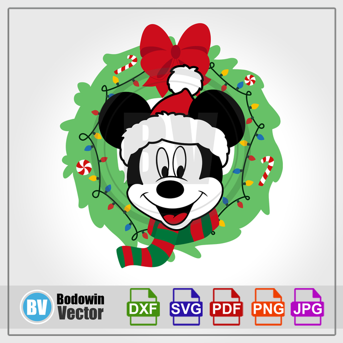 Mickey Mouse Christmas Wreath SVG / Instant Download / Digital Clipart / Cutting