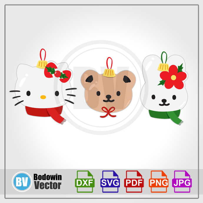 Hello Kitty Christmas Ball SVG  / Instant Download / Digital Clipart / Cutting
