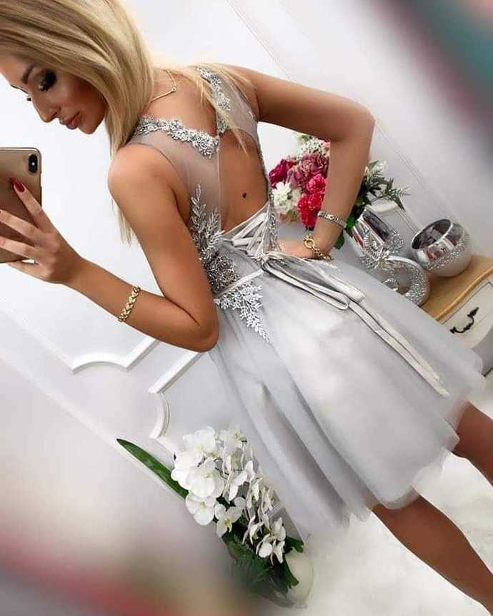 Light Grey Homecoming dresses short,Short Prom Dresses,Homecoming