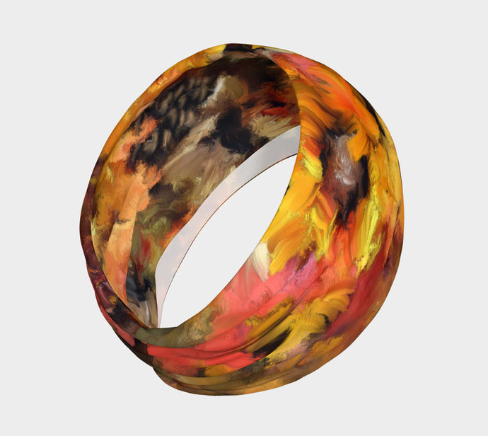 Autumn Fall Yoga Headband hand painted, Orange, brown, gold, scrunchy, neck