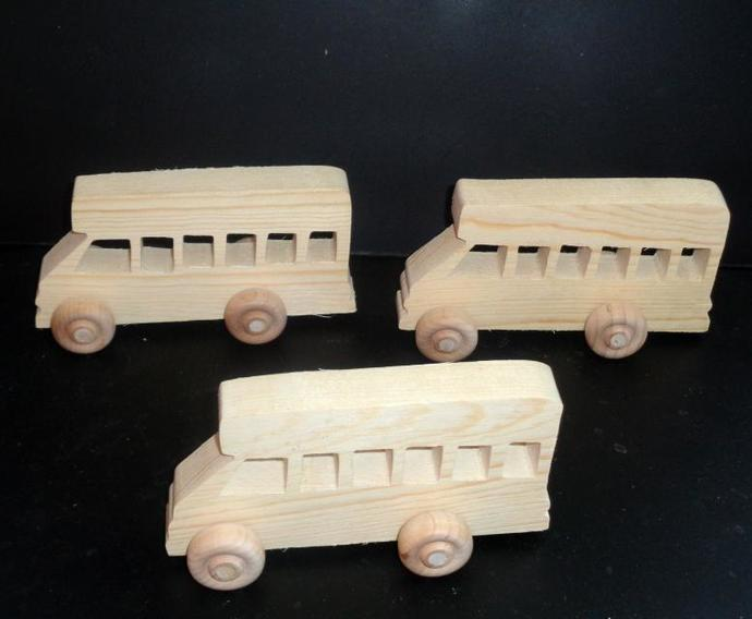 Pkg of 3 Handcrafted Wood Toy Buses  321CBH-U-3 unfinished or finished
