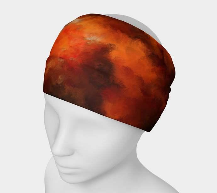 Yoga Headband hand painted, Amber Fire 1, orange, brown, scrunchy, neck warmer,
