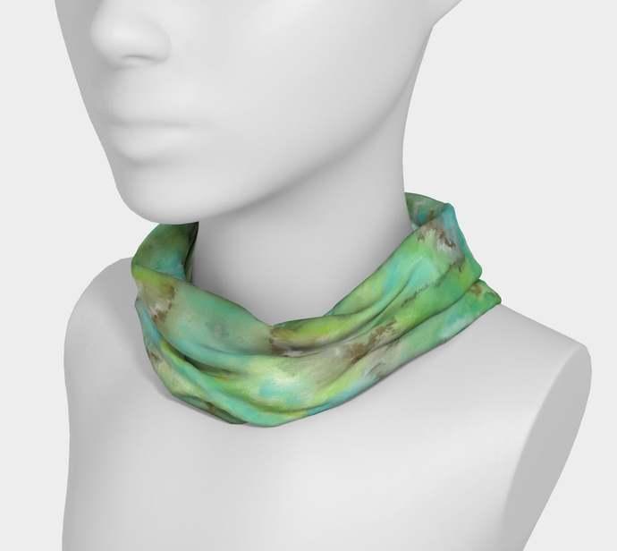 Yoga Headband hand painted, Turquoise 4, green, bronze, scrunchy, neck warmer,