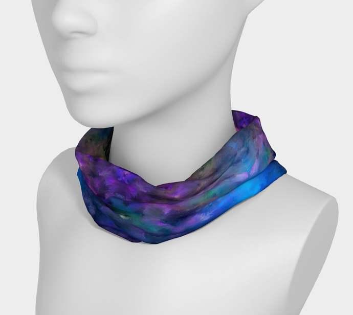 Yoga Headband hand painted, Coral Reef, Royal Blue, Purple, scrunchy, neck
