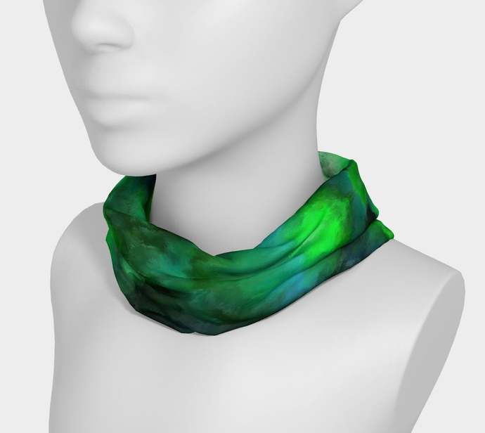 Yoga Headband hand painted, Jade 1, royal jade green, black, scrunchy, neck