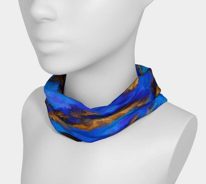 Blue Boulder Opal Headband - Yoga Headband hand painted, scrunchy, neck warmer,