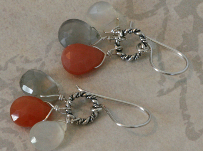 MOONSTONE DROP Bali Silver Earrings