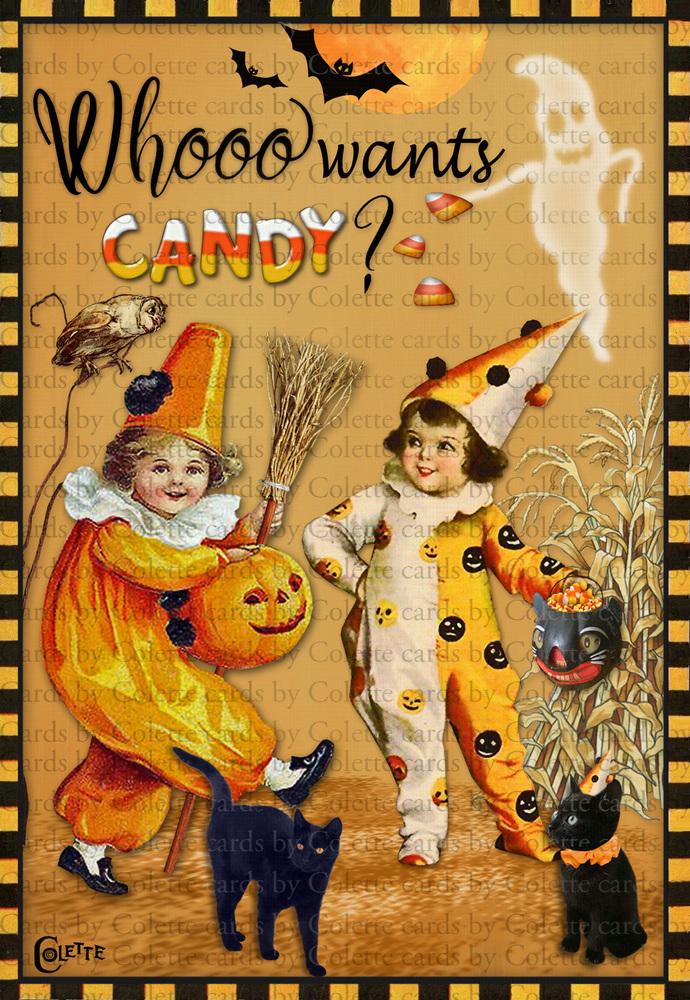 Whooooo Wants Candy DIgital Collage Halloween Card2381