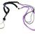 "Lanyard Necklace Beaded Gemstone Purple and Black 40"""