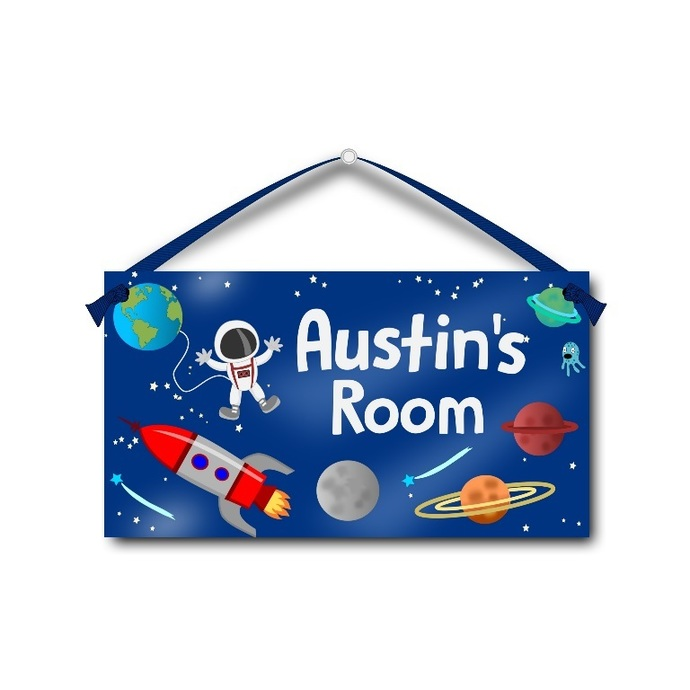 Astronaut in Outer Space - Personalised Kids Door Sign