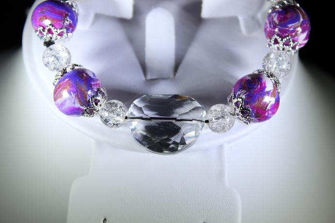 "Purple polymer clay stretch bracelet size 7"" Free Shipping USA only"