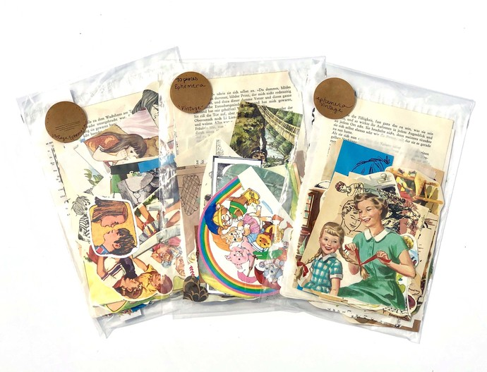 Vintage Paper Ephemera Pack, Collage Pack, Art Journals, Junk Journals,