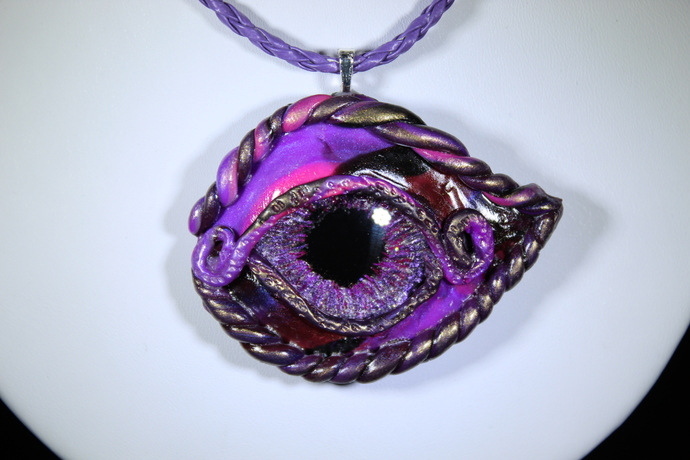 Steampunk Orchid dragon eye hand sculpted and painted. Free shipping USA only