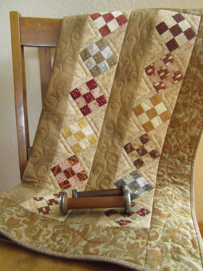 Table Topper Quilted Handmade Table Quilt Tan Traditional Quilted Square