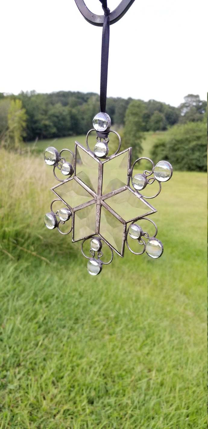 Bevel stained glass snowflake suncatcher Christmas ornament handmade with rustic