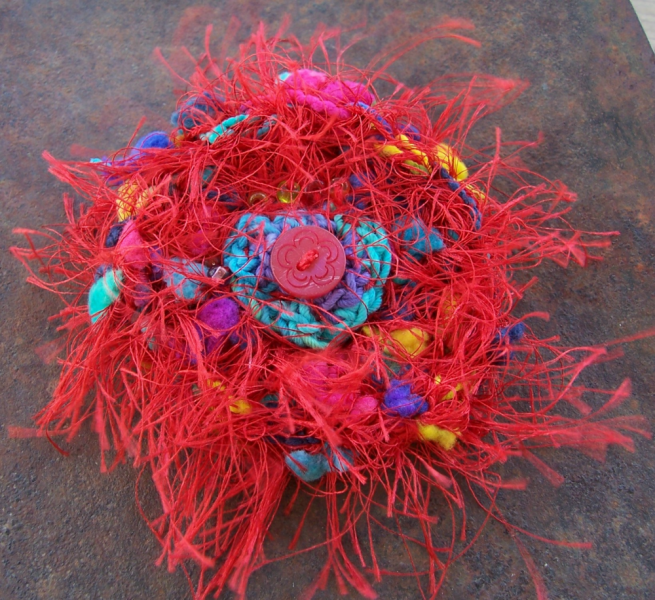 Big Red Carnival Crocheted Brooch Pin
