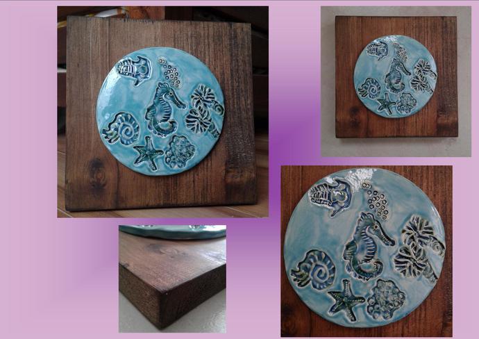 Seahorse Ceramic Tile on Wood Plaque Turquoise Wall Art Ocean Beach Pottery Sea