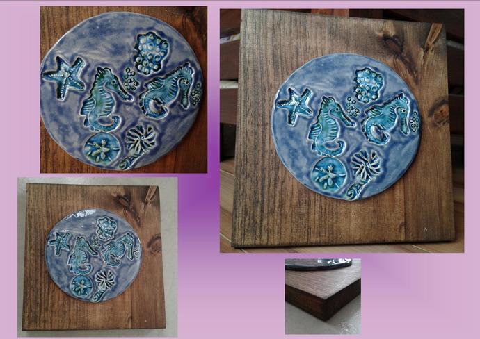 Seahorse Ceramic Tile on Wood Plaque Blue Wall Art Ocean Beach Pottery Sea Art