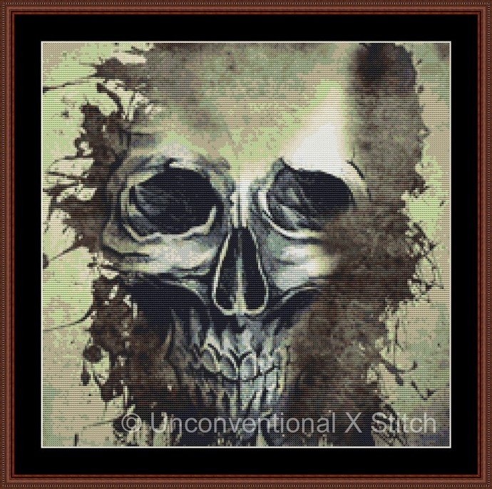 Grunge Skull cross stitch pattern