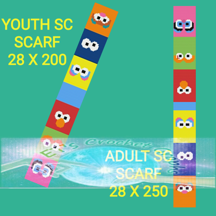 Sesame Pals SC Adult/Youth Scarf 2 in 1 - Graphs with Written Color Blocks