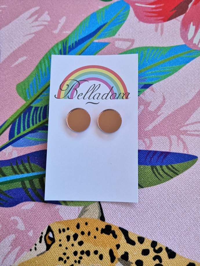 Small Round Studs - Rose Gold Mirror