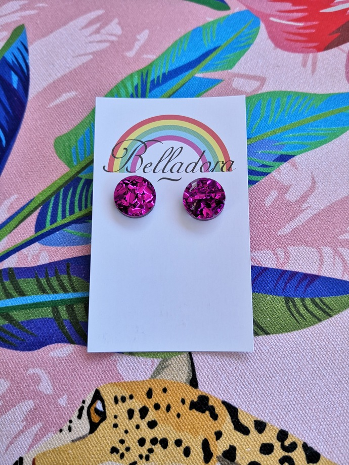 Small Round Studs - Berry Purple