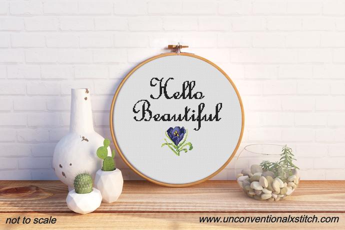 Hello Beautiful cross stitch pattern